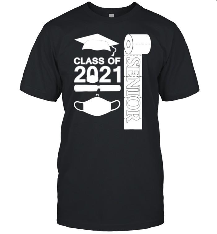 Class Of 2021 Senior Mask Paper Quarantined Back To School shirt Classic Men's T-shirt