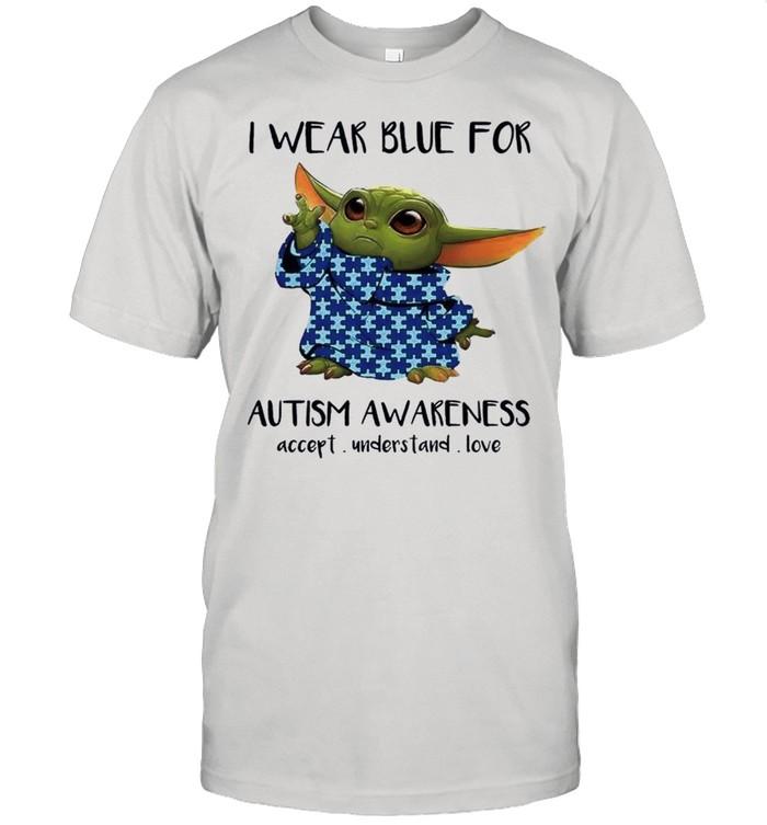 Baby Yoda I Wear Blue For Autism Awareness 2021 shirt Classic Men's T-shirt