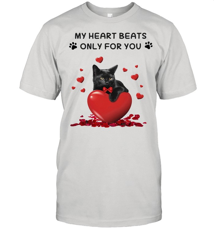 St Valentine's Day Black Cat My Heart Beats Only For You shirt Classic Men's T-shirt