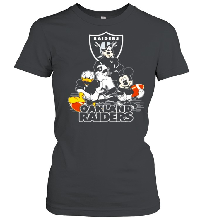 Mickey Mouse Donald Duck And Goofy With Oakland Raiders Sport shirt Classic Women's T-shirt