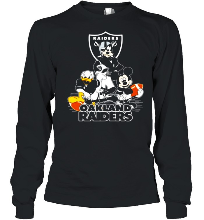 Mickey Mouse Donald Duck And Goofy With Oakland Raiders Sport shirt Long Sleeved T-shirt