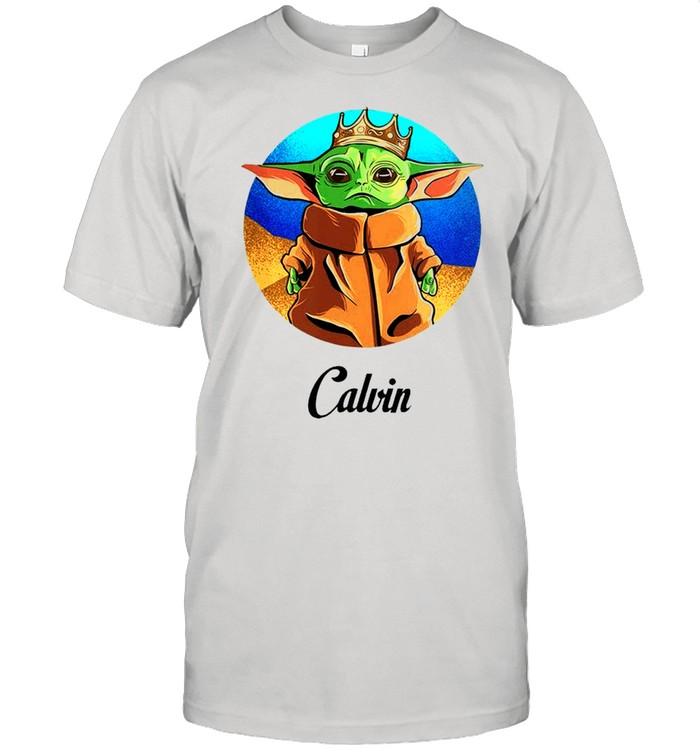 Personalized baby yoda calvin shirt Classic Men's T-shirt