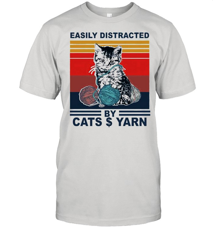 Black Cat Easily Distracted By Cats $ Yarn Vintage shirt Classic Men's T-shirt