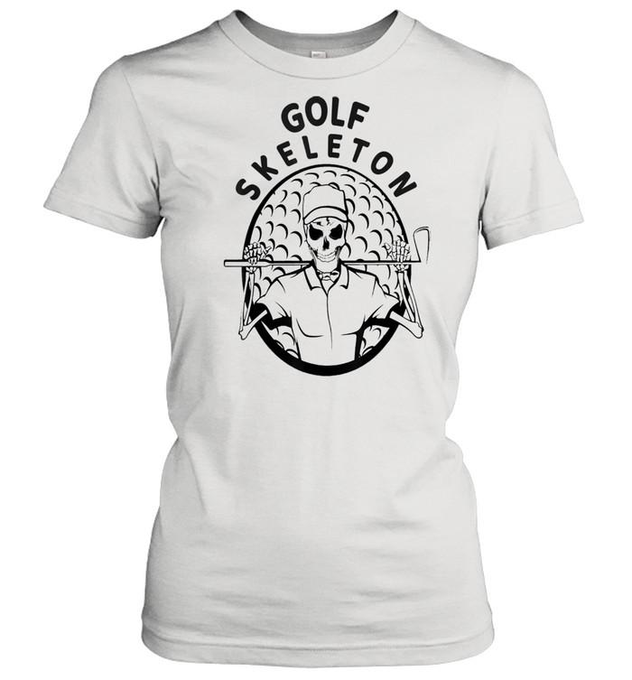 Skeleton Golfer Halloween Golfing shirt Classic Women's T-shirt