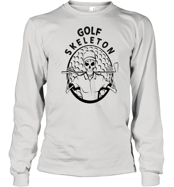 Skeleton Golfer Halloween Golfing shirt Long Sleeved T-shirt