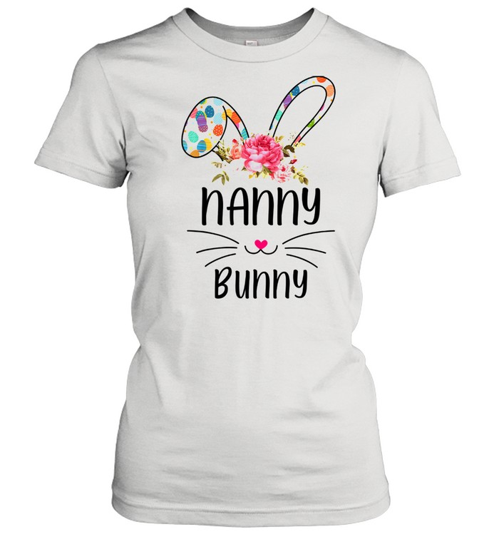 bunny floral happy easter day  classic womens t shirt