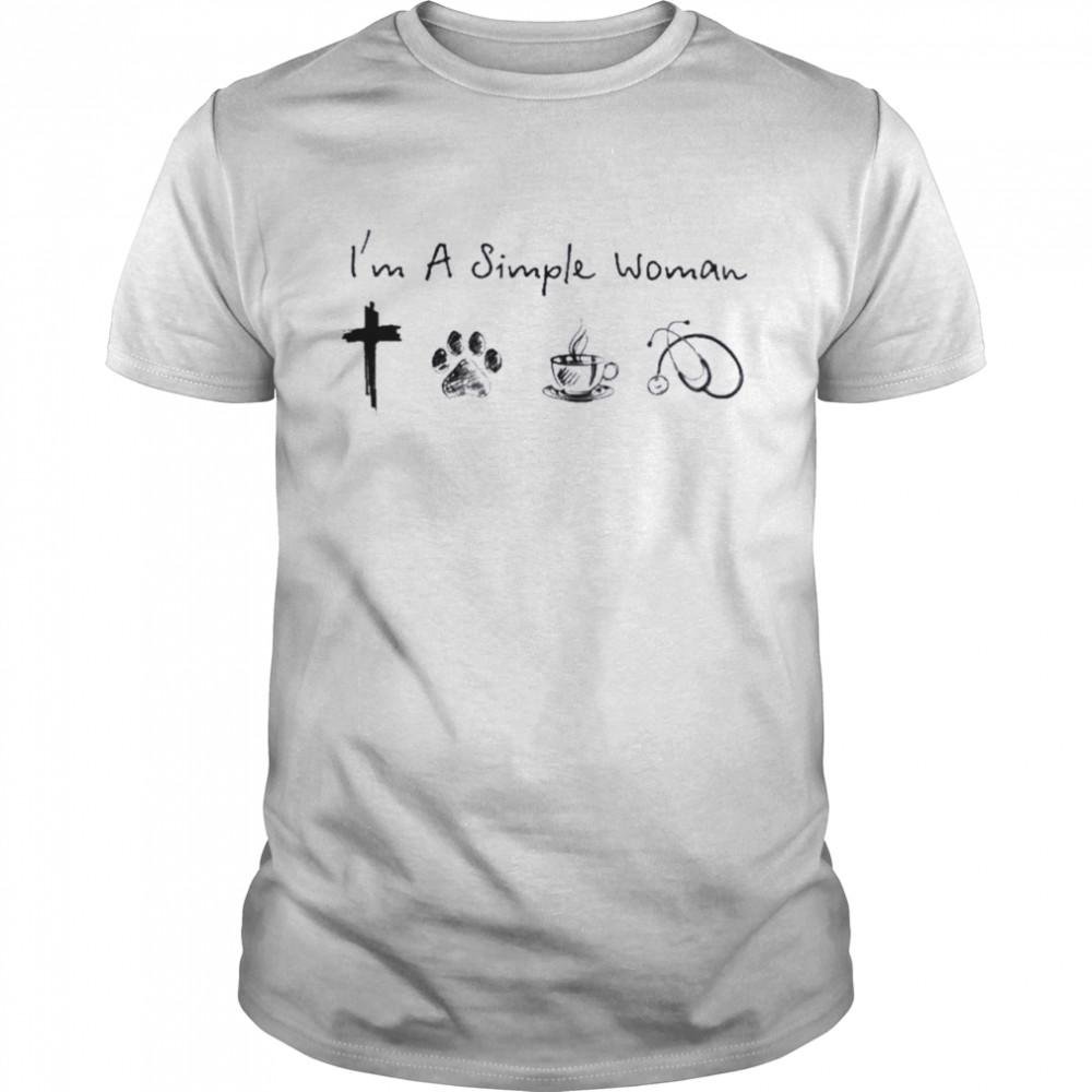 Im a simple woman i like jesus dogs coffee and stethoscope nurse shirt Classic Men's T-shirt