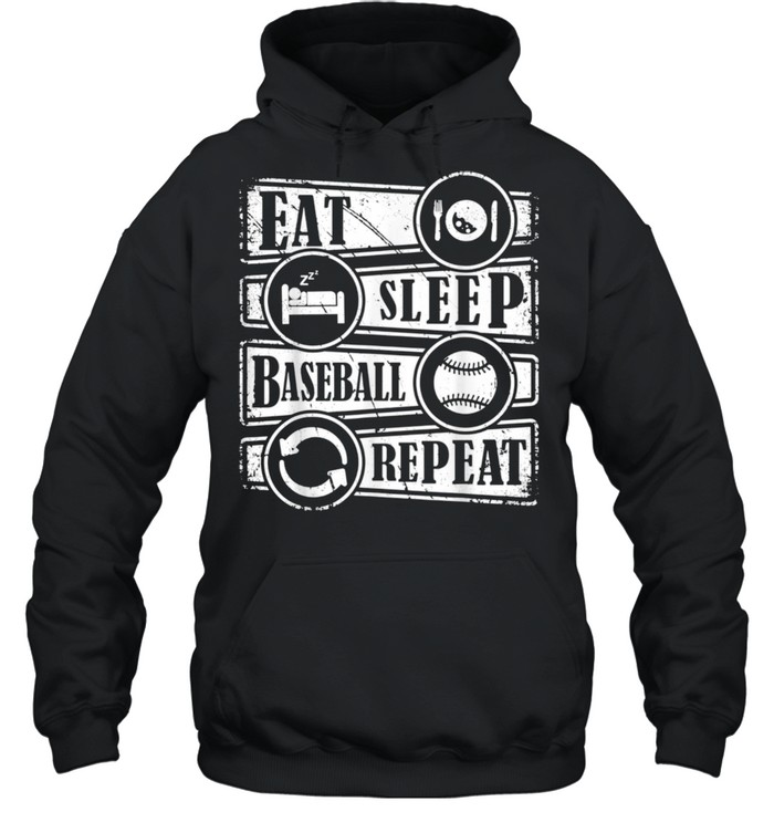 eat sleep baseball repeat sports baseball  unisex hoodie