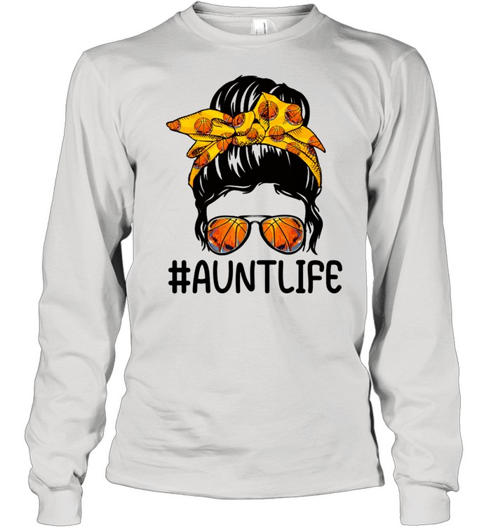 mothers day messy bun aunt life basketball  long sleeved t shirt