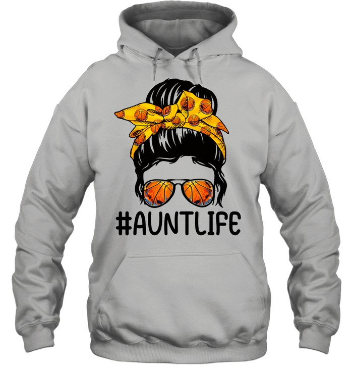 mothers day messy bun aunt life basketball  unisex hoodie