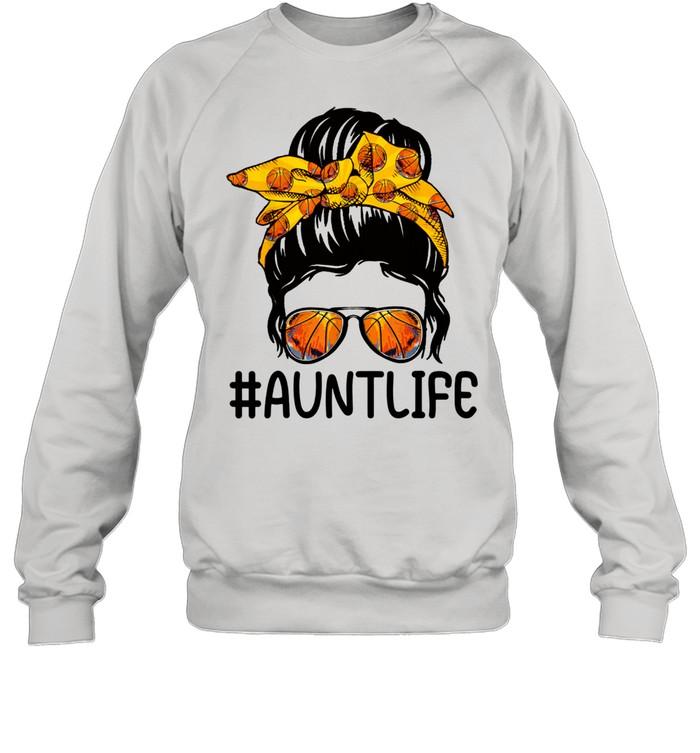 mothers day messy bun aunt life basketball  unisex sweatshirt