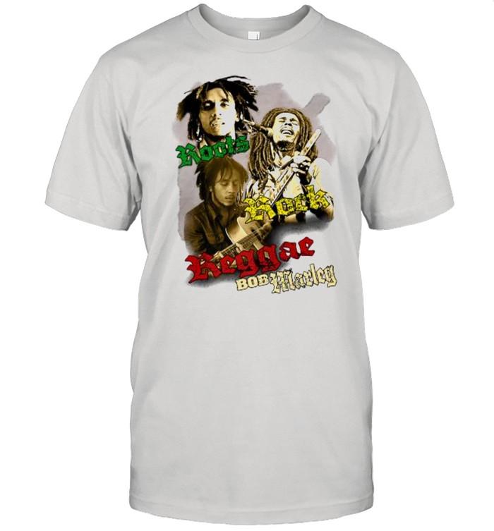 Roots Rock Love Bob Marley Playing Guitar  Classic Men's T-shirt
