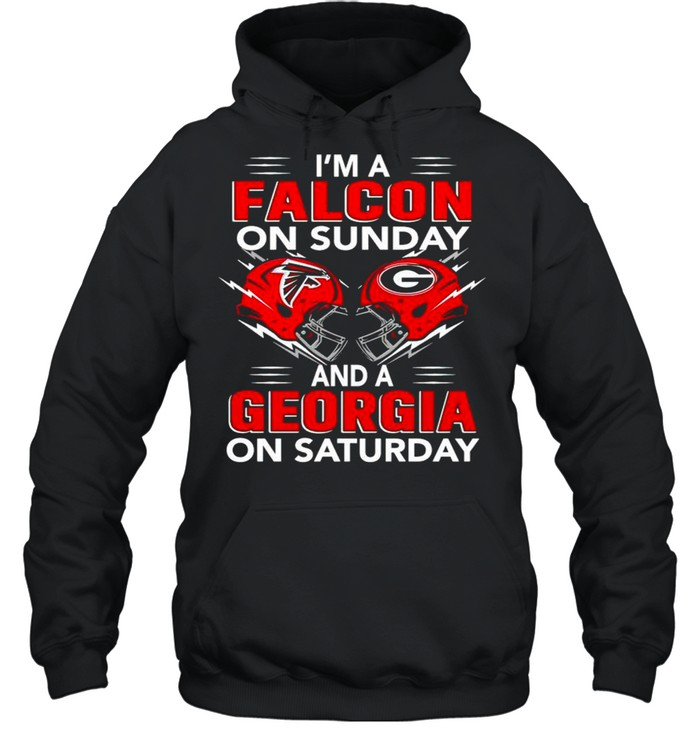 im a falcon on sunday and a georgia on saturday shirt unisex hoodie