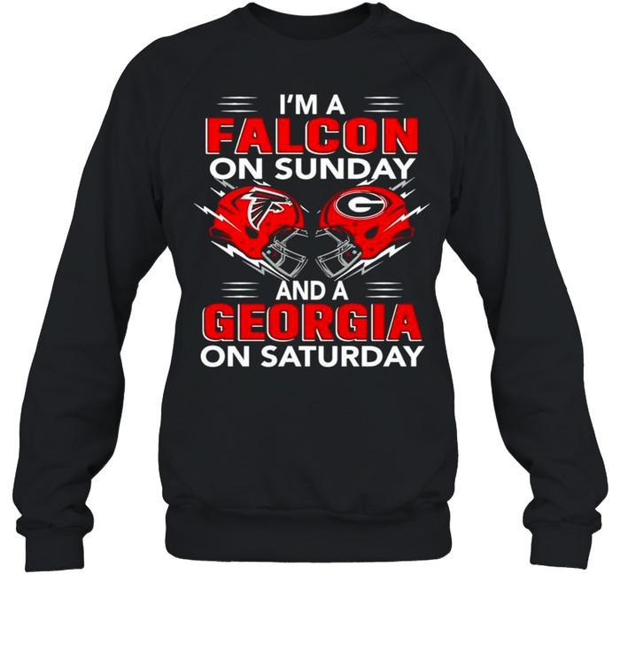 im a falcon on sunday and a georgia on saturday shirt unisex sweatshirt