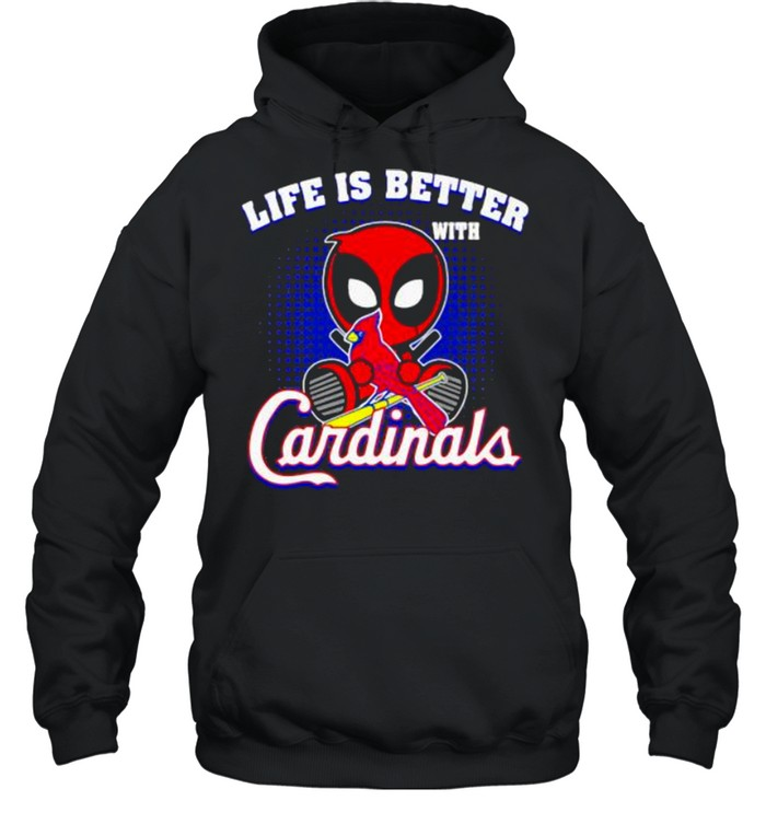 life is better with cardinals deadpool  unisex hoodie