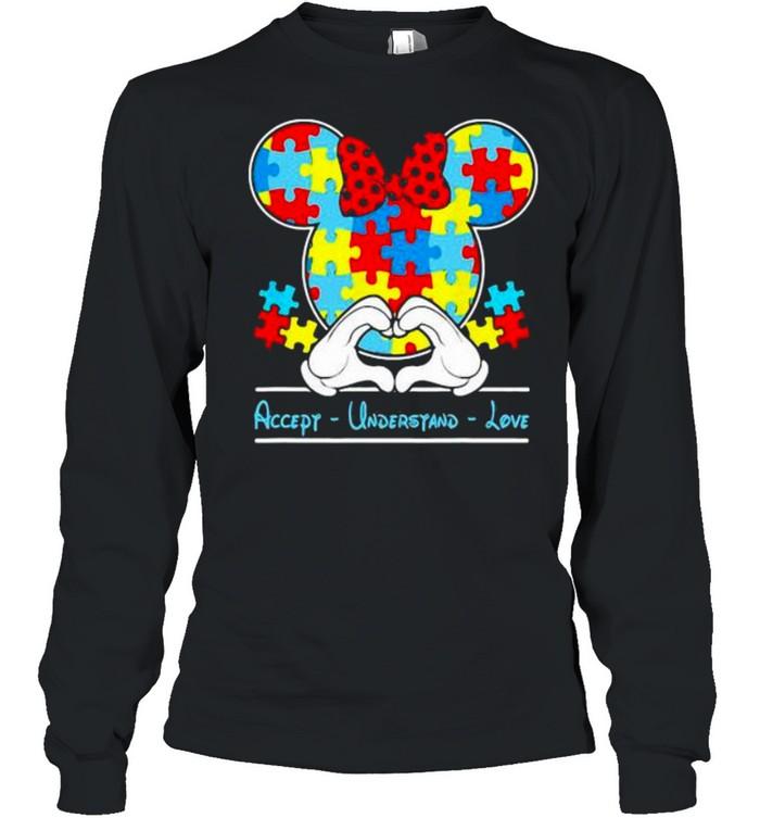 mickey love heart accept understand autism awareness  long sleeved t shirt