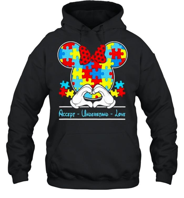 mickey love heart accept understand autism awareness  unisex hoodie