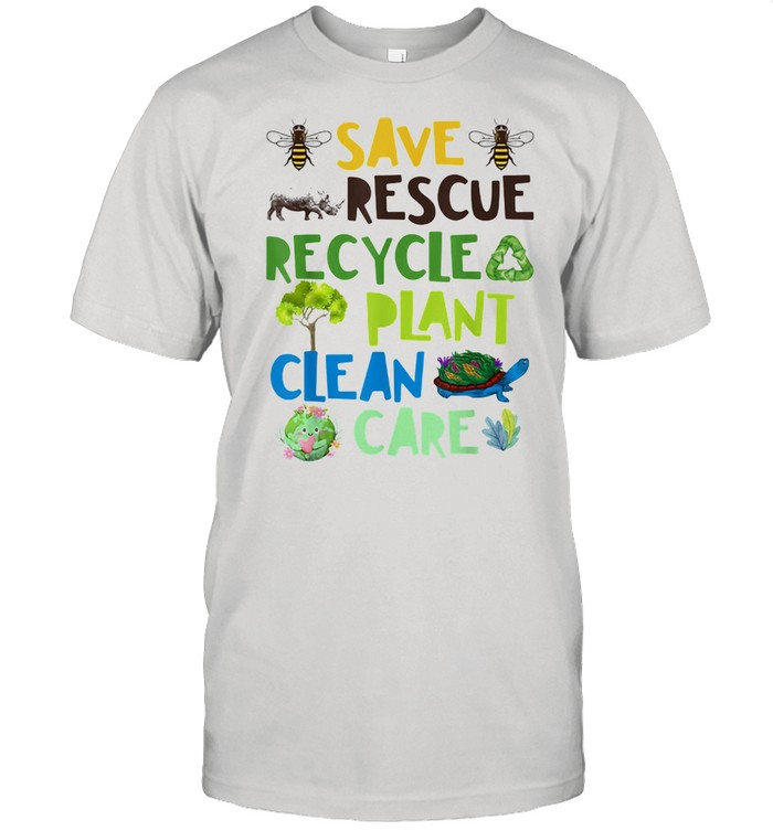 Save Rescue Recycle Plant Clean Care Bee Turtle The Earth  Classic Men's T-shirt