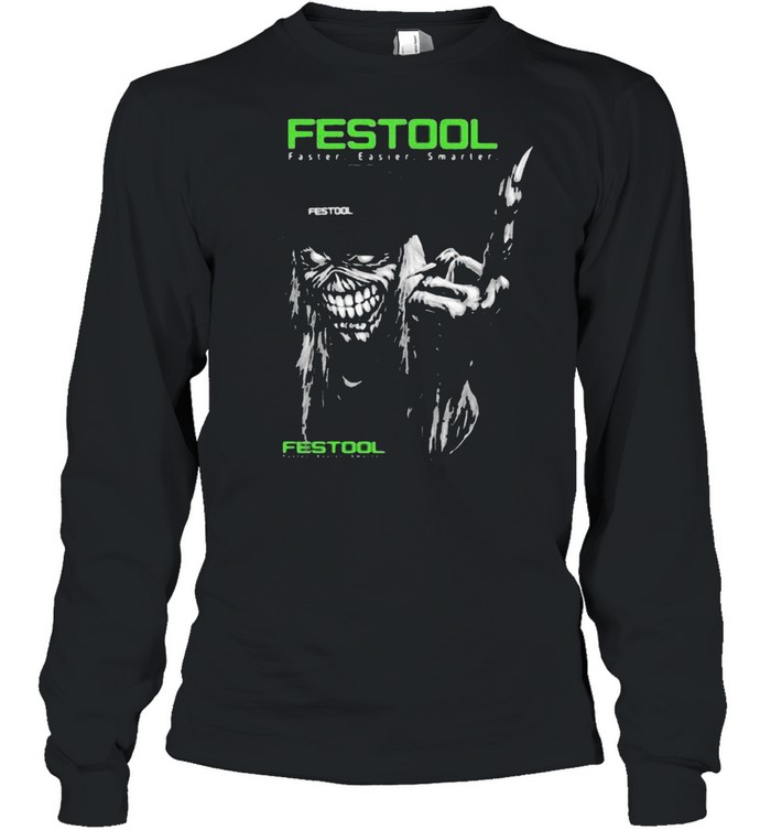 Skull With Festool Faster Easier Smarter Logo  Long Sleeved T-shirt