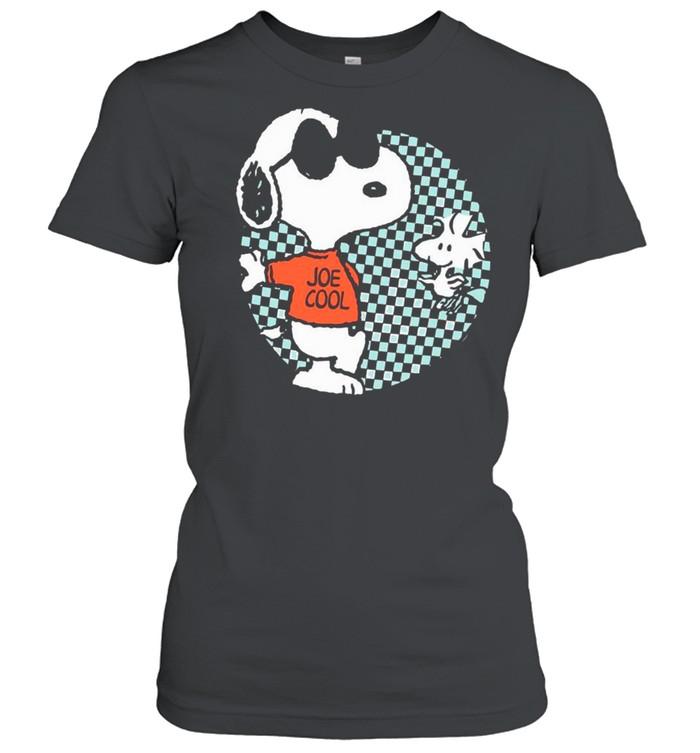 snoopy joe cool and woodstock checkered cartoon shirt classic womens t shirt