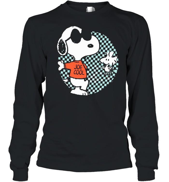 snoopy joe cool and woodstock checkered cartoon shirt long sleeved t shirt