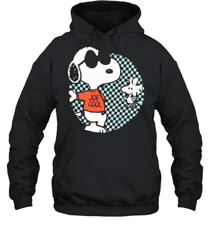 snoopy joe cool and woodstock checkered cartoon shirt unisex hoodie
