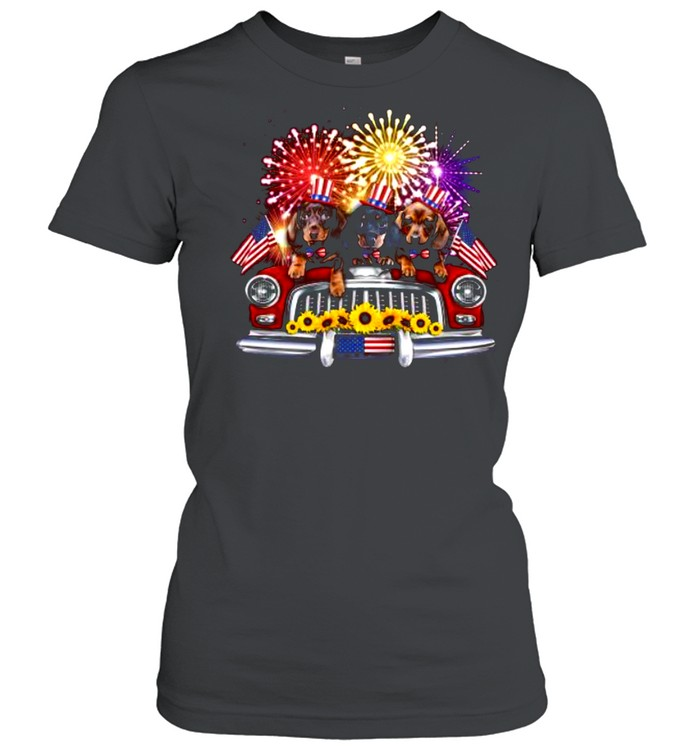 dachshund independence day truck american flag shirt classic womens t shirt