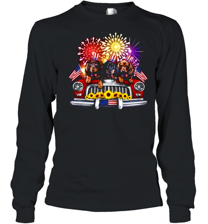 dachshund independence day truck american flag shirt long sleeved t shirt