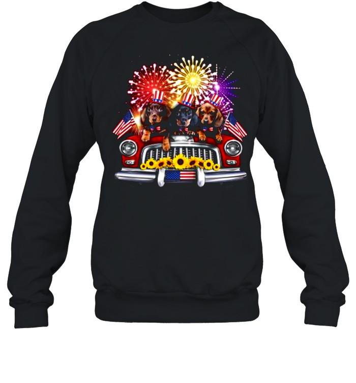 dachshund independence day truck american flag shirt unisex sweatshirt