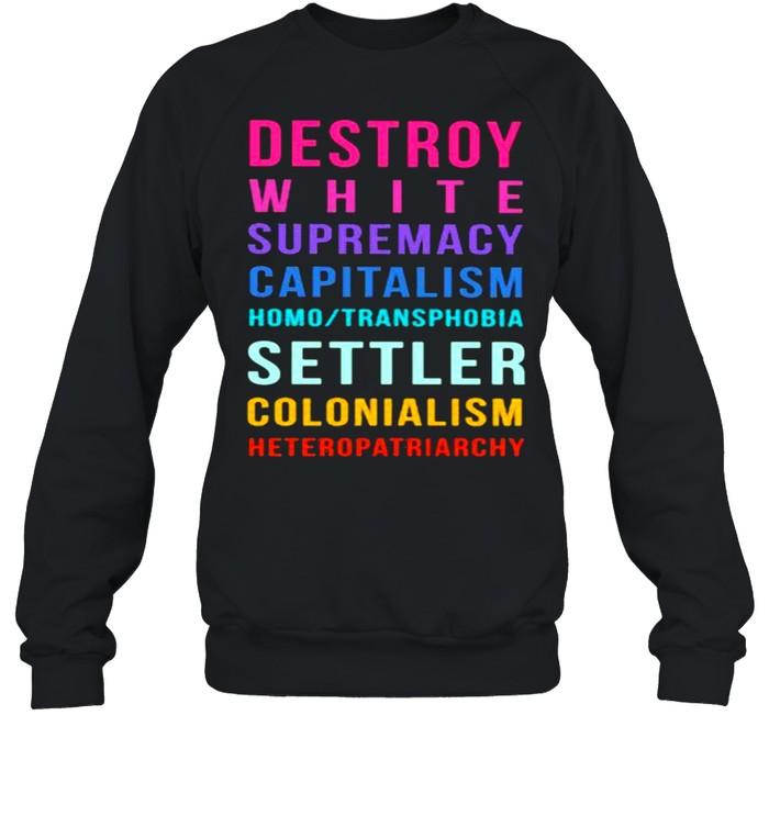 Destroy White Supremacy Capitalism Homo Transphobia Settler Colonialism Heteropatriarchy  Unisex Sweatshirt