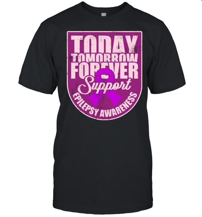 Epilepsy Awareness Support Purple Ribbon Forever Wear shirt Classic Men's T-shirt