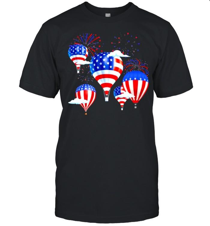 USA Flag Hot Air Balloons Firework  Classic Men's T-shirt