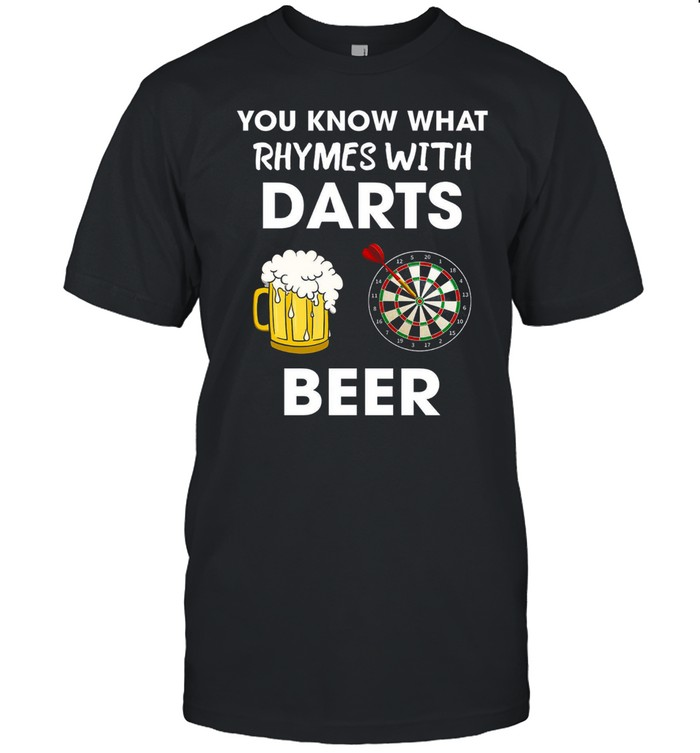 You know what rhymes with darts beer shirt Classic Men's T-shirt