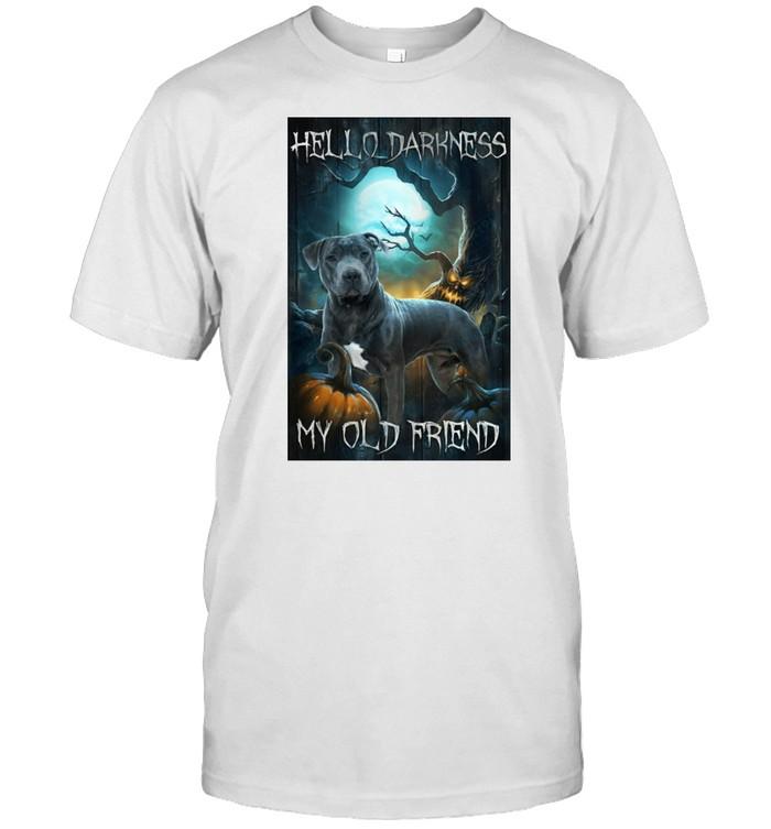 Pitbull Dog Hello Darkness My Old Friend Portrait Halloween T-shirt Classic Men's T-shirt