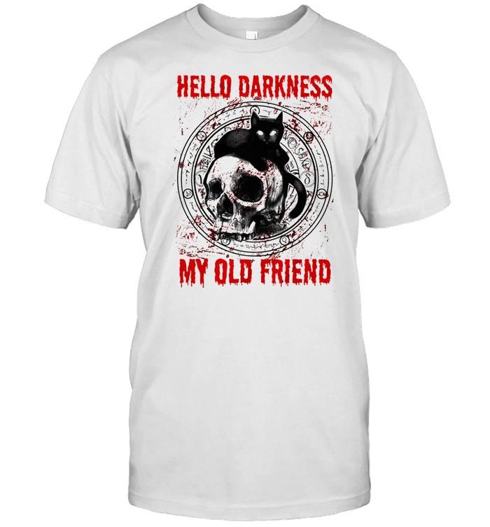 Skull and Black Cat hello darkness my old friend shirt Classic Men's T-shirt