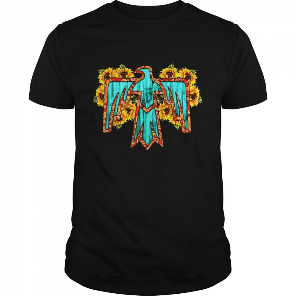 Sunflowers Turquoise Boho Native American Totem Thunderbird shirt Classic Men's T-shirt