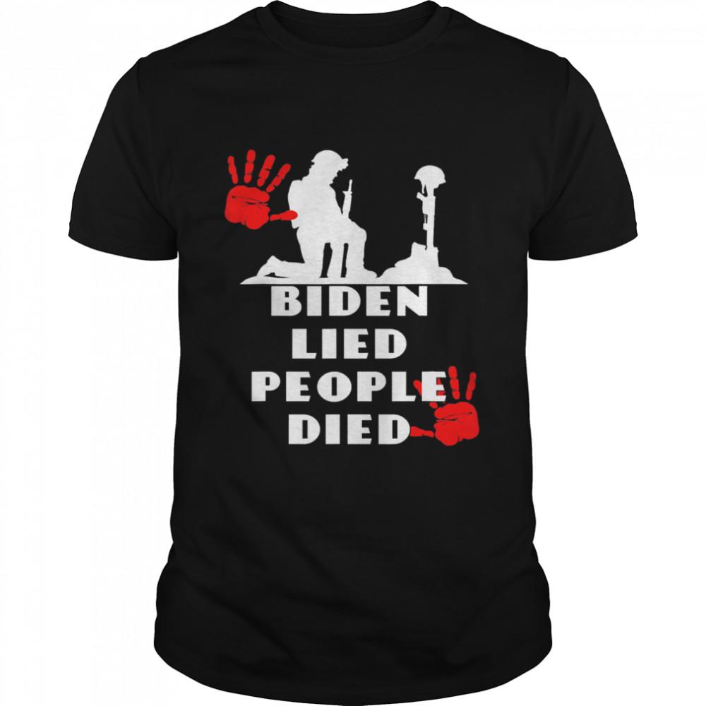 Biden Lied People Died Anti Biden USA Flag Bloody Hand Biden shirt Classic Men's T-shirt
