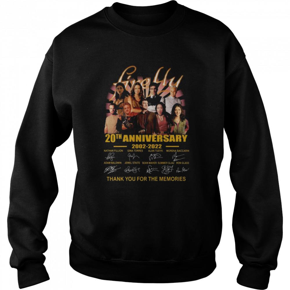Firefly TV Series 20th anniversary 2002 2021 thank you for the memories signatures shirt Unisex Sweatshirt
