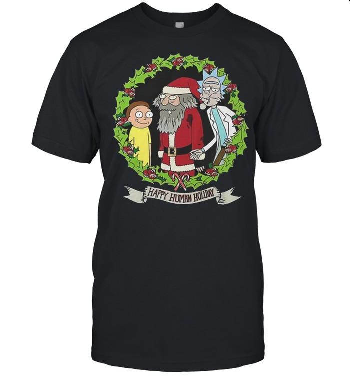 rick and Morty and Santa Claus Happy Human Holiday Christmas shirt Classic Men's T-shirt