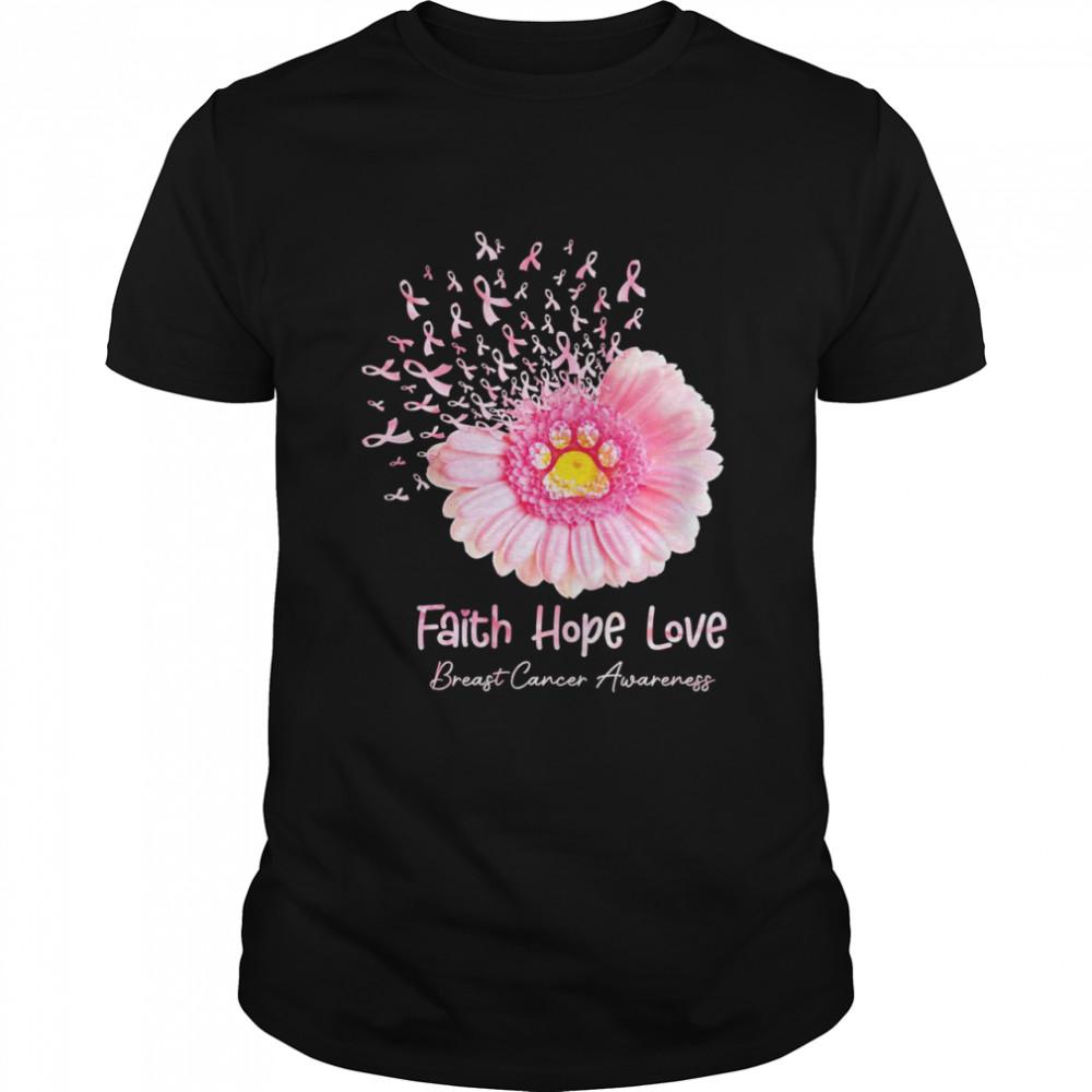 Flower faith hope love breast cancer awareness shirt Classic Men's T-shirt