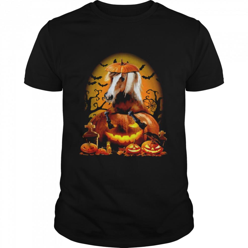 Pumpkin Hat For Horse Halloween T-shirt Classic Men's T-shirt