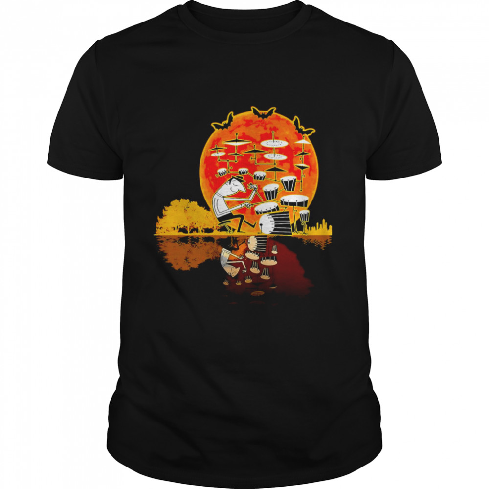 Drummer Drumming Reflection On The Lake Vintage Sunset  Classic Men's T-shirt